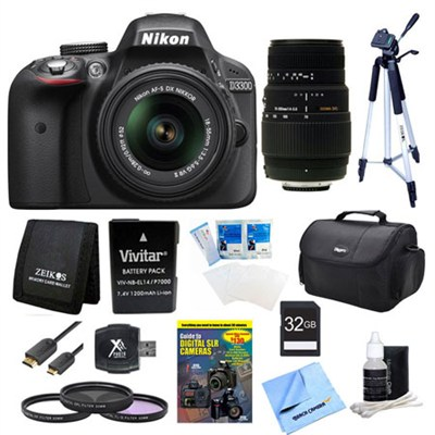 D3300 DSLR HD Black Camera, 18-55mm Lens, 70-300mm Lens and 32GB Card Bundle