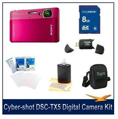 Cyber-shot DSC-TX5 10.2 MP Digital Camera (Red) with 8GB Card, Case, More