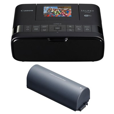 Selphy CP1200 Wireless Compact Black Photo Printer and Battery Bundle
