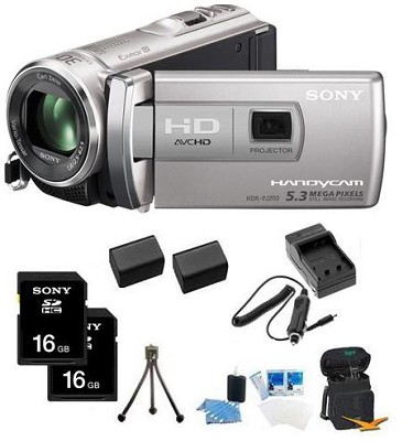 HDR-PJ200/S 5.3 MP Stills 25x Optical HD Projector and Camcorder (Silver) Bundle