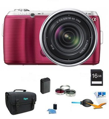 Alpha NEX-C3 Interchangeable Lens Pink Digital SLR w/ 18-55mm ULTIMATE Bundle