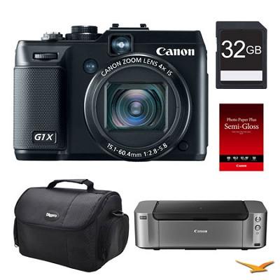 PowerShot G1X Digital Camera, 32GB, Printer Bundle