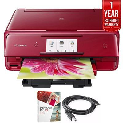 PIXMA 1369C042 wireless Printer, Scanner & Copier 4.3 Red+Warranty Bundle
