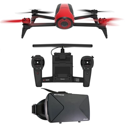 Bebop 2 Quadcopter Drone HD Skycontroller Bundle (Red) VU Reality Viewer