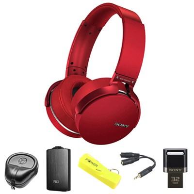 Extra Bass Bluetooth Headphones (Red) - MDRXB950BT/R w/ FiiO A3 Amp. Bundle
