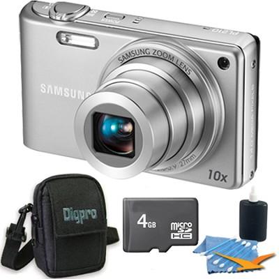 PL210 Superzoom 14MP Compact Silver Digital Camera 4 GB Bundle