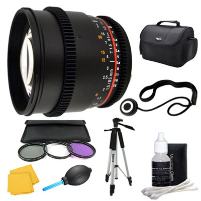 85mm T1.5 Aspherical Cine Lens and Filter Kit Bundle for Nikon Mount