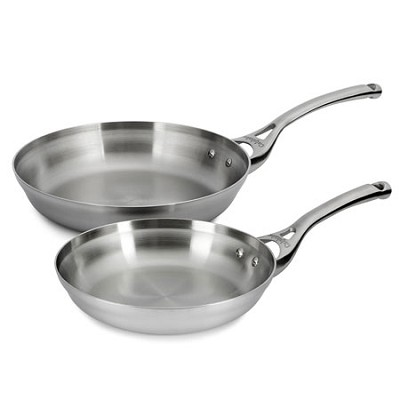 Contemporary Stainless 8-inch and 10-inch Omelette Pan Set - 1763467