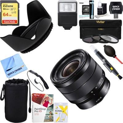 10-18mm f/4 Wide-Angle Zoom E-Mount Lens + 64GB Ultimate Kit