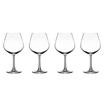 Elite Vivere Collection Burgundy Glasses, Set of 4