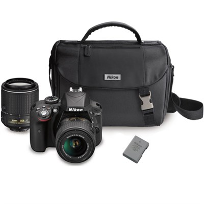 D3300 DX-format Digital SLR w/ 18-55mm + 55-200mm DX VR II Zoom Lenses Bundle