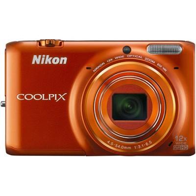 COOLPIX S6500 16 MP Digital Camera  12x Zoom Built-In Wi-Fi Orange Refurbished