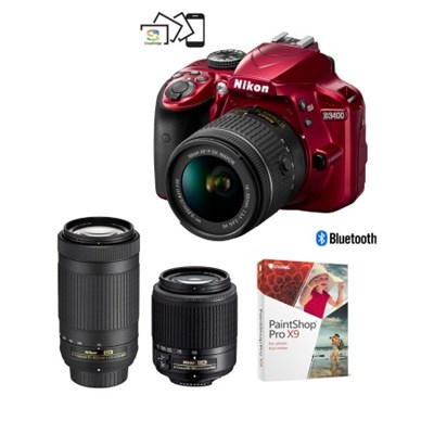 Nikon D3400 24.2MP Full HD 1080p Digital SLR Camera with 18-55mm VR & 70-300mm Lenses (Red) - Factory Refurbished + Refurb Nikon 55-200mm Lens + Corel Paint Shop Pro X9