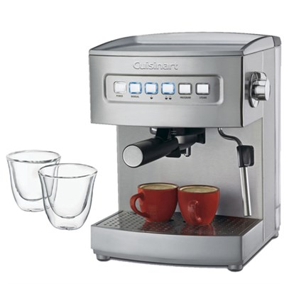 EM-200 Programmable 15-Bar Espresso Maker,Stainless Steel Fctry Refurb w/Glasses