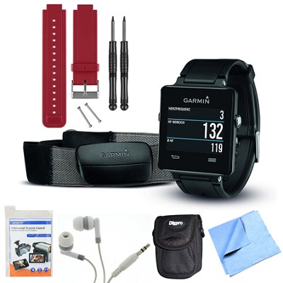vivoactive GPS Smartwatch Black with Heart Rate Monitor Red Band Bundle