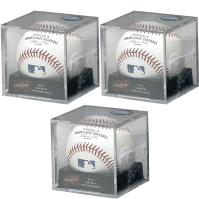 Official Major League Baseball w/ Cube Display Box Included 3-Pack Bundle