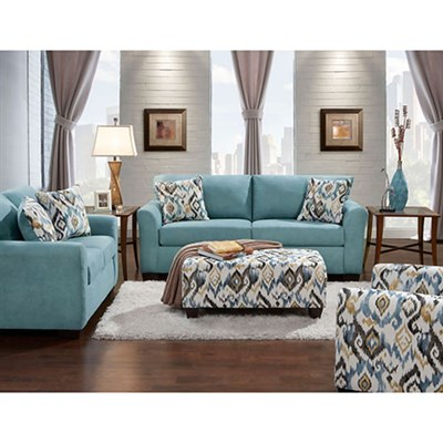 Carlisle 2PC Set: Sofa and Loveseat with Accent Pillows