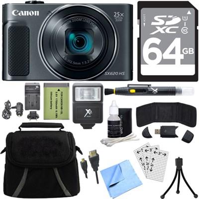 PowerShot SX620 HS 20.2MP Digital Camera Black w/ 64GB Card Accessory Bundle