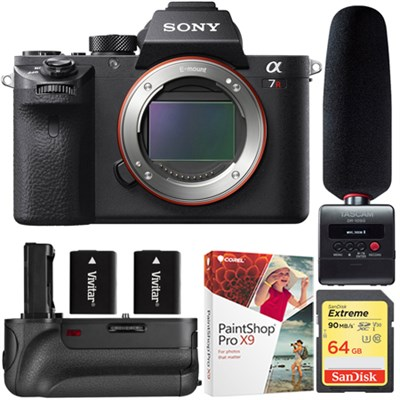 a7R II Full-Frame Mirrorless 42.4MP Camera Body+Tascam Audio Recorder & Mic Kit