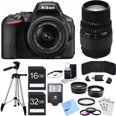 D5500 DX-format DSLR Camera w/ NIKKOR 18-55mm + 70-300mm Lens Black Bundle
