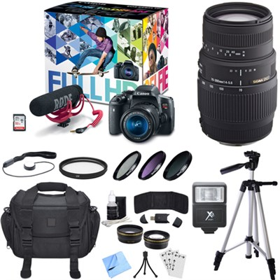EOS Rebel T6i Video Creator Kit w/ Rode VideoMic, 18-55mm + 70-300mm Lens Bundle