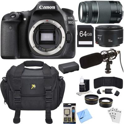 EOS 80D 24.2 MP CMOS Digital SLR Camera Bundle w/ 75-300mm + 50mm Lenses