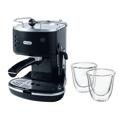 Icona Pump Espresso Maker w/ Double Walled Thermo Espresso Glasses, Set of 2