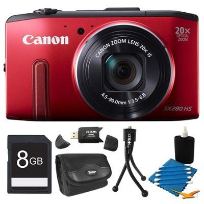 PowerShot SX280 HS Red Digital Camera 8GB Bundle