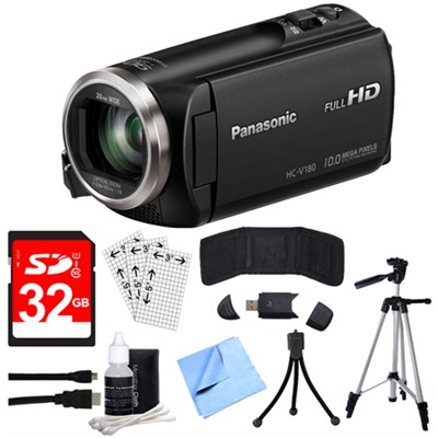 HC-V180K Full HD Camcorder with 50x Stabilized Optical Zoom w/ 32GB SDHC Bundle