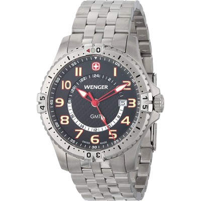Men's Squadron GMT Watch - Black Dial/Stainless Steel Bracelet