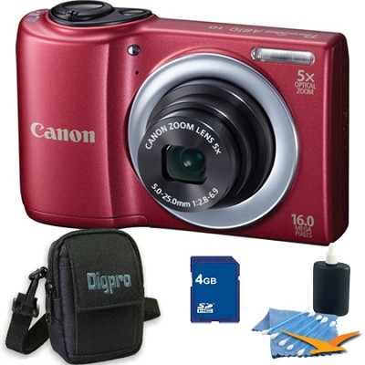 PowerShot A810 16MP Red Digital Camera 4GB Bundle
