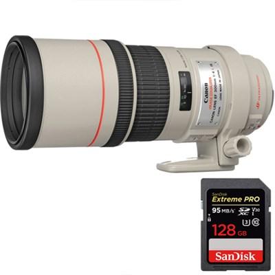 EF 300mm F/4.0 L IS Lens + Sandisk Extreme PRO SDXC 128GB Memory Card