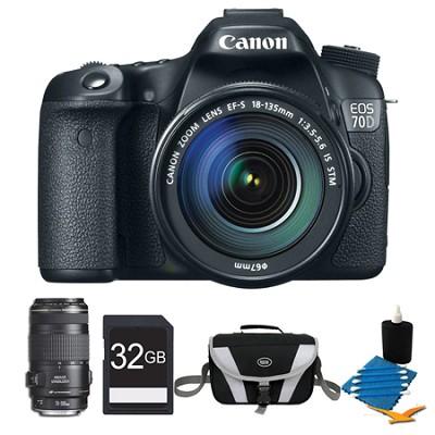 EOS 70D Digital SLR Camera and EF-S 18-135mm Lens and EF 70-300mm Lens Bundle