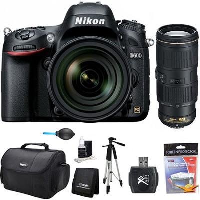 D600 24.3 MP CMOS FX-Format Digital SLR Camera w/ 24-85mm and 70-200mm Lens Kit