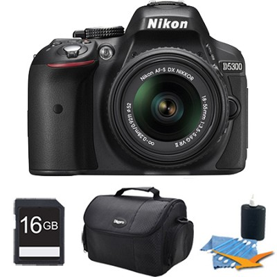D5300 DX-Format Digital SLR Kit (Black) w/ 18-55mm DX VR II Lens 16GB Bundle