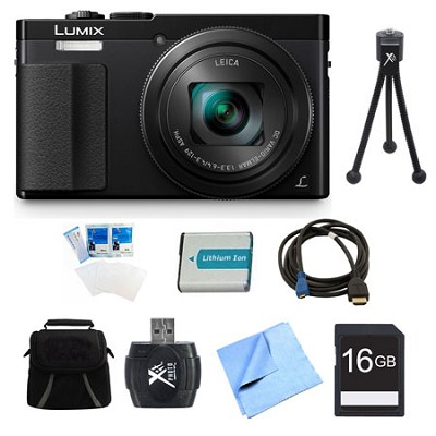 LUMIX ZS50 30X Travel Zoom Black Digital Camera 16GB Bundle