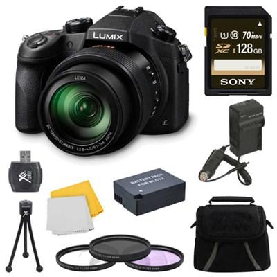 LUMIX FZ1000 4K QFHD/HD 16X Long Zoom Digital Camera 128GB Bundle (Black)