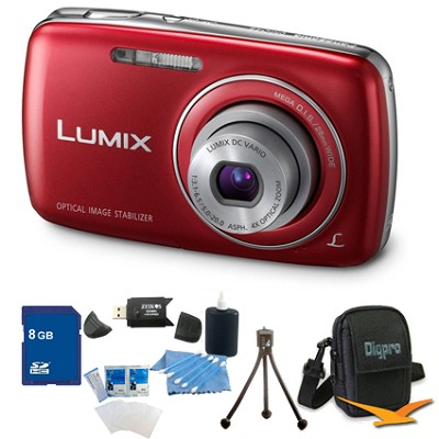 Lumix DMC-S3 14MP Compact Red Digital Camera w/ 720p HD Video 8Gb Bundle