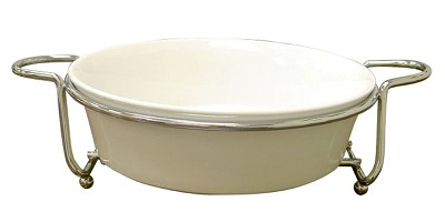 Super White Ceramic Serveware With Caddy Round 11`