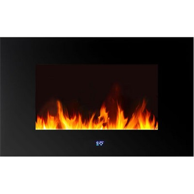 WLVF-10343 Venice Horizontal Wall-Mounted LED Fireplace, Digital Display, Remote