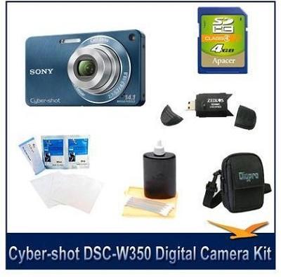 Cyber-shot DSC-W350 14.1 MP Digital Camera (Blue) w/ 4GB Card, Case and More
