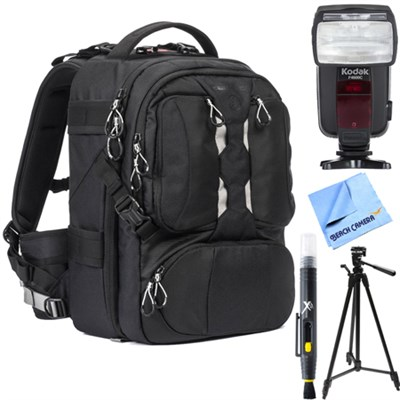 ANVIL Slim 11 Photo DSLR Camera & Laptop Backpack Black + Flash Bundle for Canon