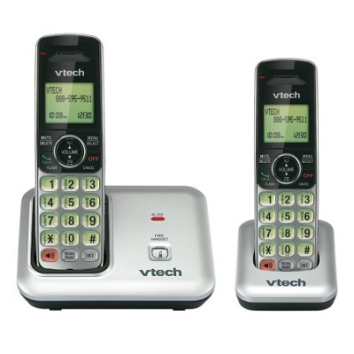 CS6419-2 DECT 6.0 Cordless Phone, Silver/Black, 2 Handsets