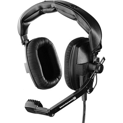 Closed Headset with Dynamic Hypercardioid Microphone, 50 Ohms, Grey