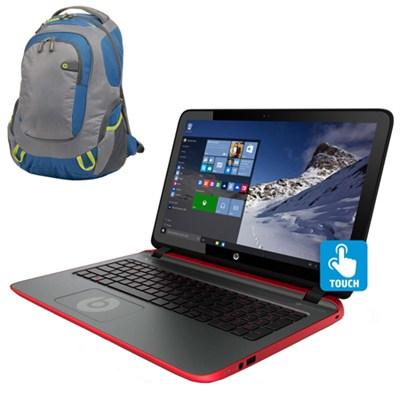 15-p390nr 15.6` Touchscreen Beats AMD Quad-Core A10-7300 Laptop & Sport Backpack