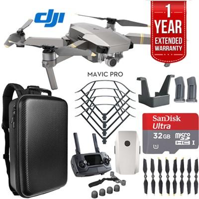 Mavic Pro Platinum Quadcopter Drone + 1 Year Warranty Extension Plus 32GB Kit