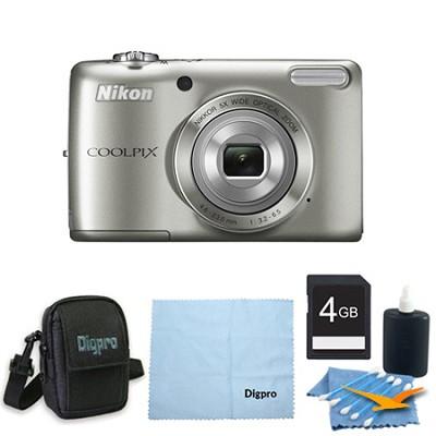 COOLPIX L26 16.1 MP 3.0-inch LCD Digital Camera 4GB Silver Kit