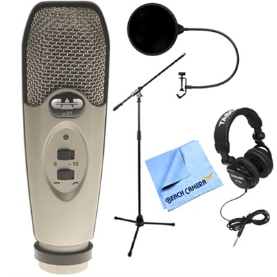 USB Large Diaphragm Cardioid Condenser Microphone w/Headphone Bundle