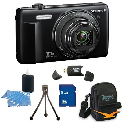 8 GB Kit VR-340 16MP 10x Opt Zoom 3-inch LCD Digital Camera - Black