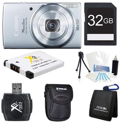 PowerShot ELPH 150 IS 20MP 10x Opt Zoom Digital Camera Silver Kit
